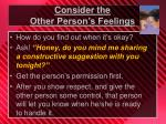 consider the other person s feelings