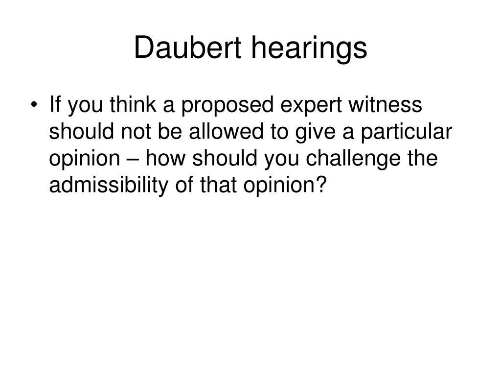 Daubert hearings