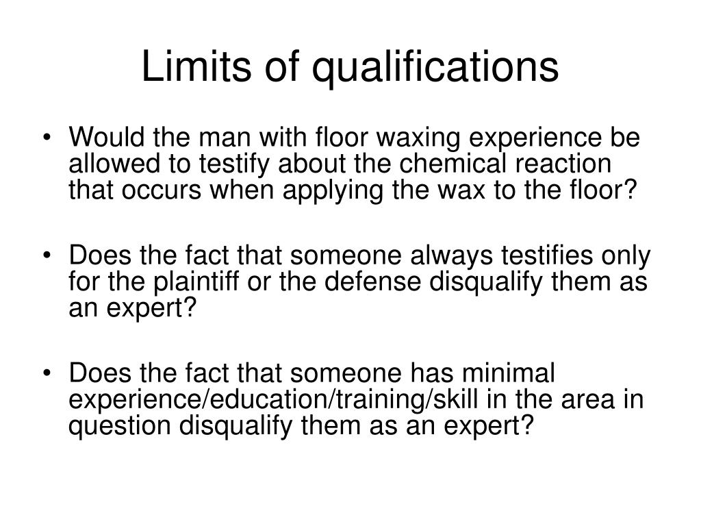 Limits of qualifications