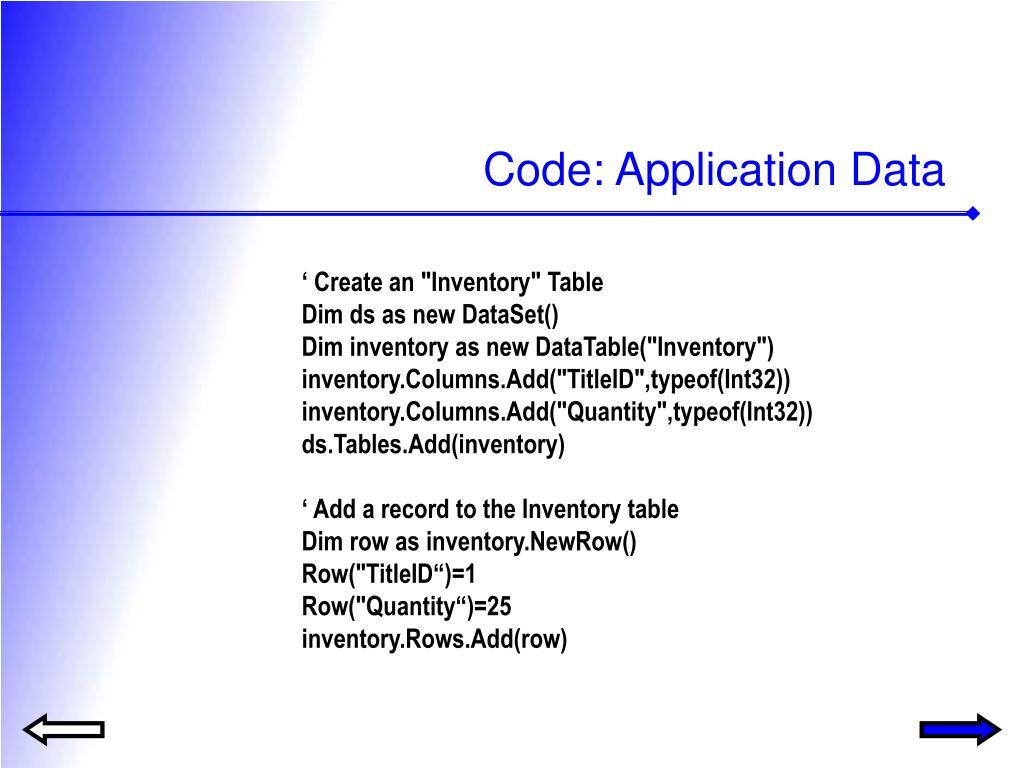Code: Application Data