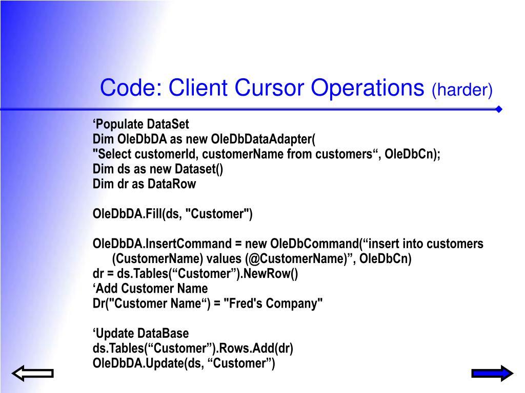 Code: Client Cursor Operations