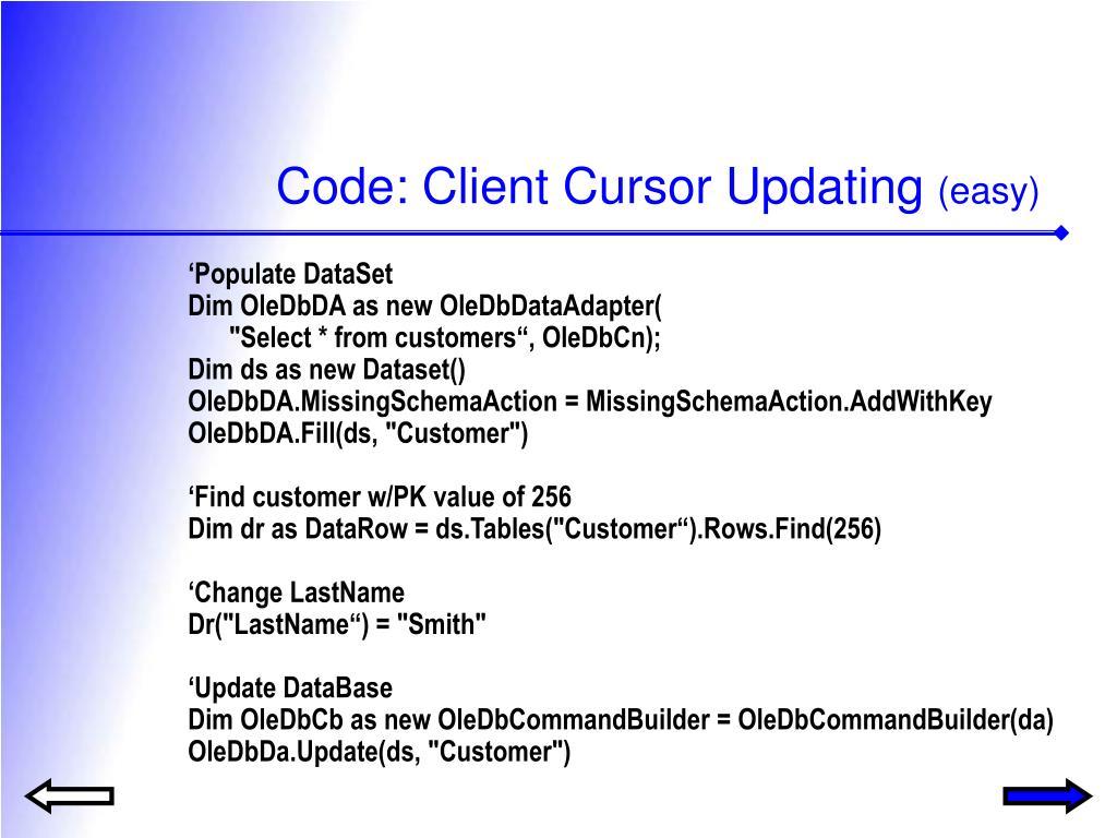 Code: Client Cursor Updating