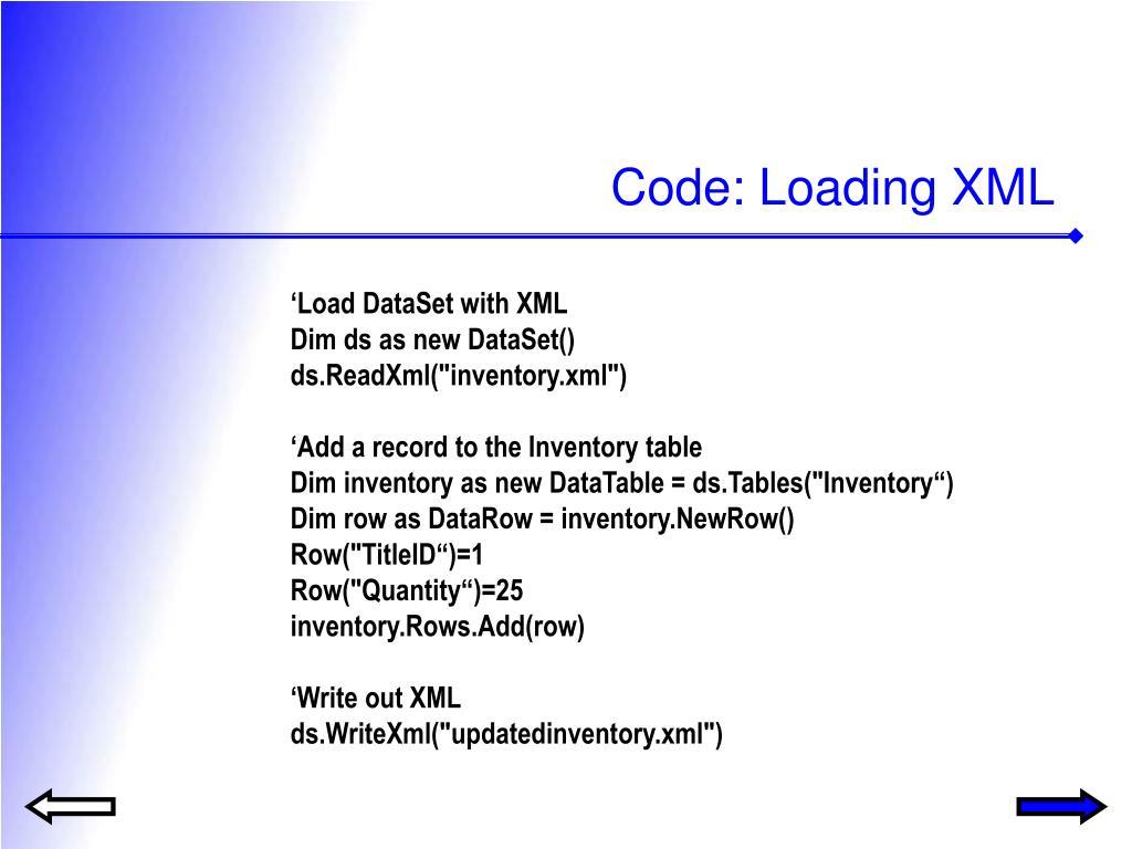 Code: Loading XML