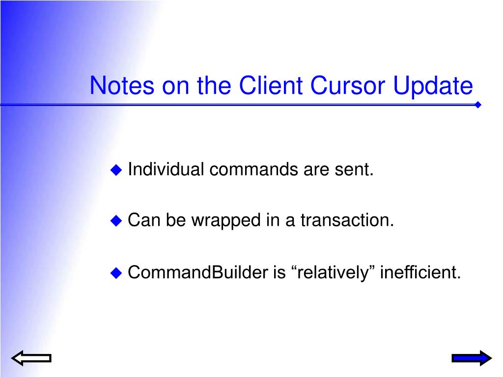 Notes on the Client Cursor Update