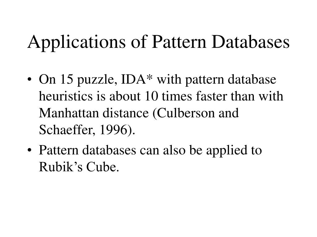 Applications of Pattern Databases