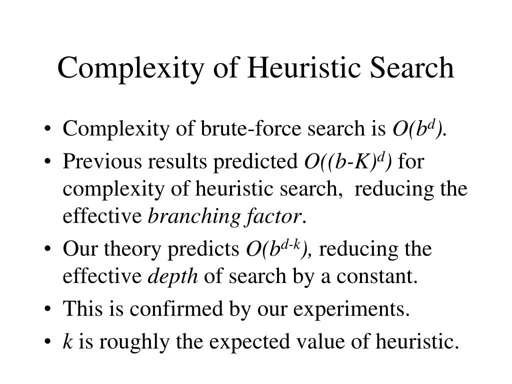 Complexity of Heuristic Search