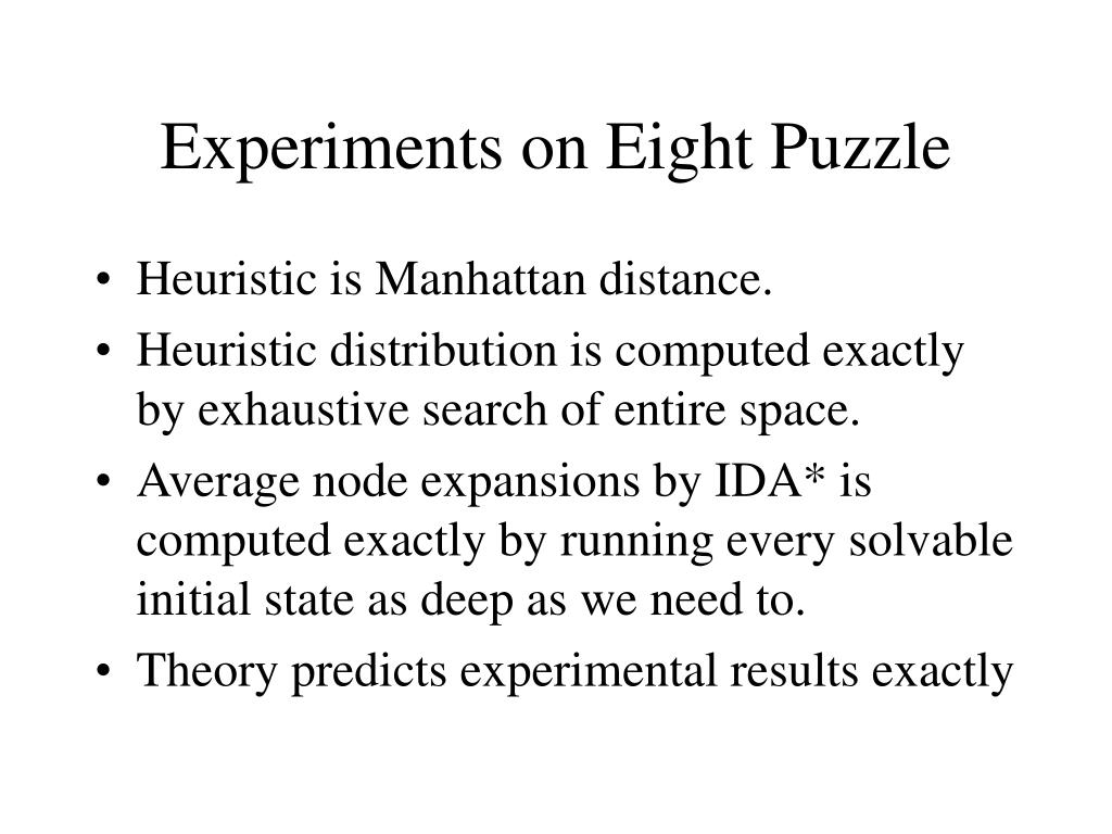 Experiments on Eight Puzzle