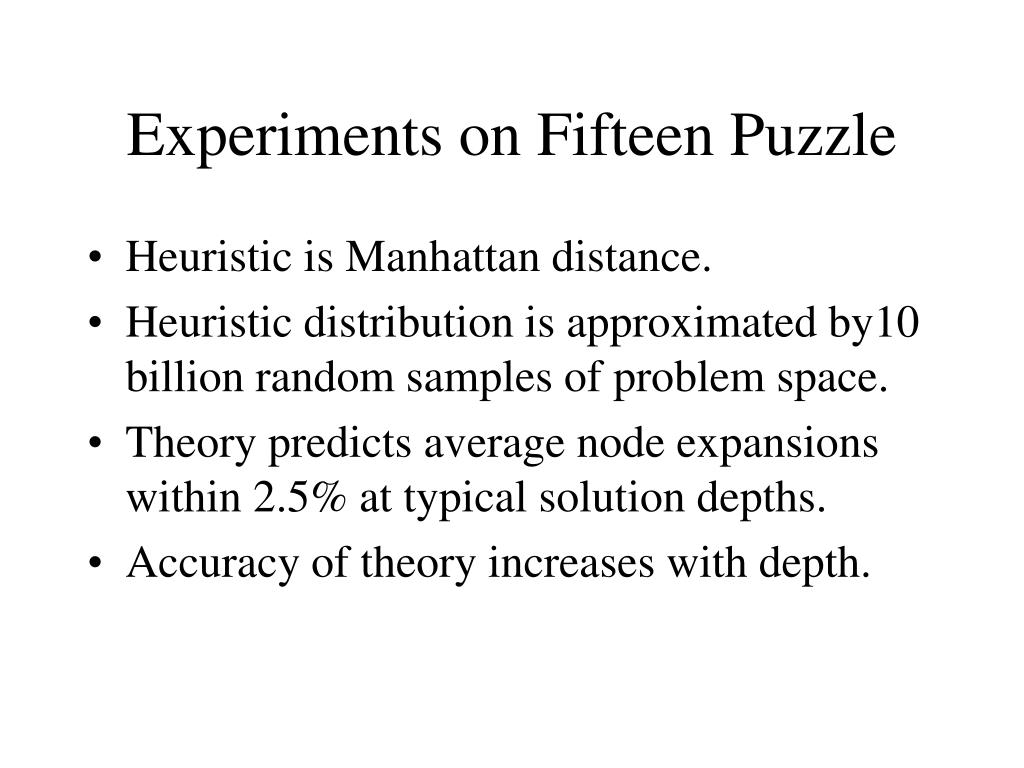 Experiments on Fifteen Puzzle