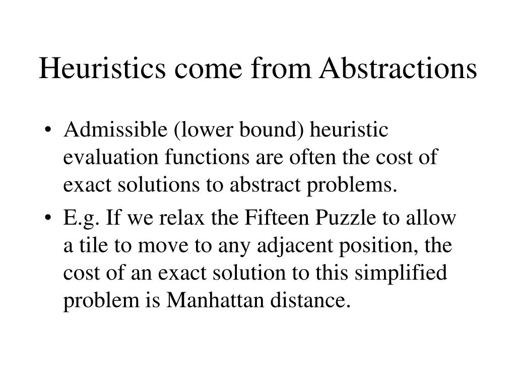 Heuristics come from Abstractions