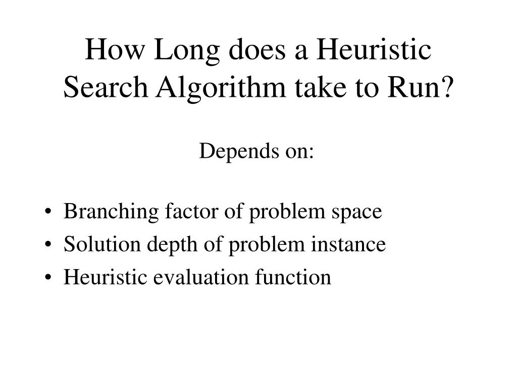 How Long does a Heuristic Search Algorithm take to Run?