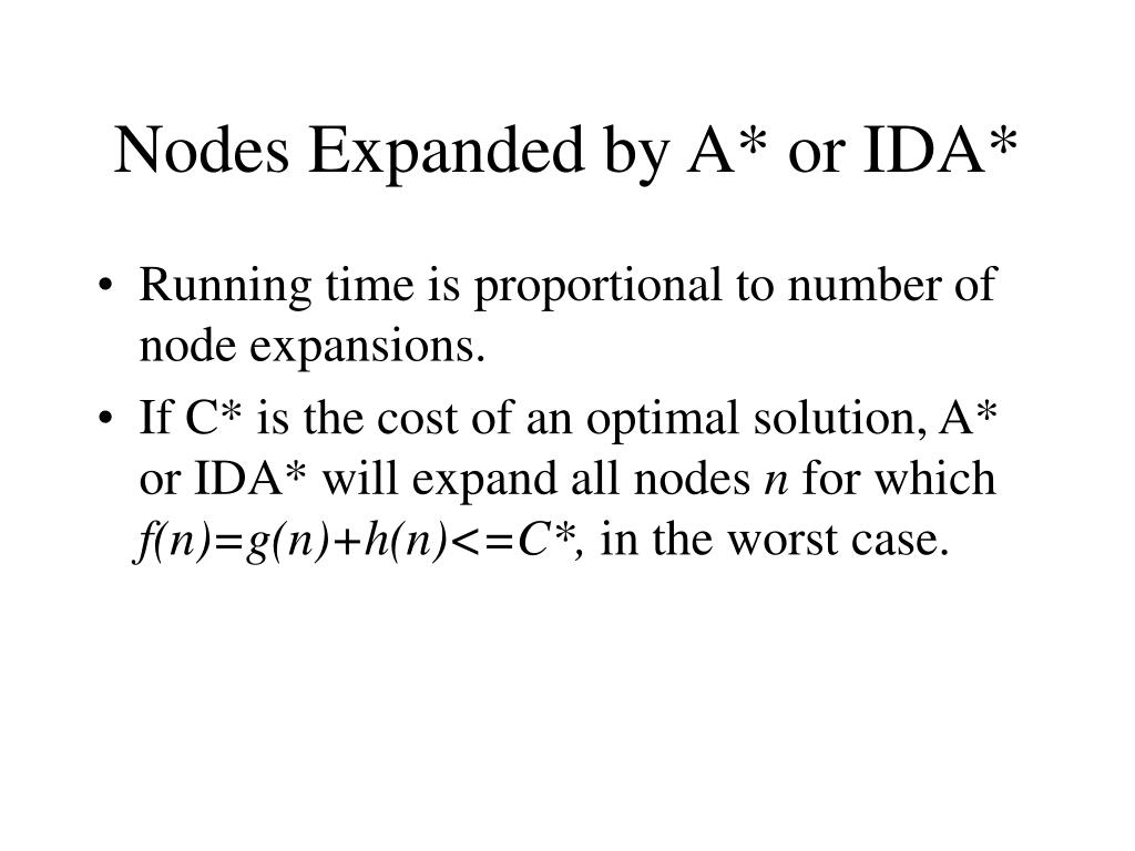 Nodes Expanded by A* or IDA*