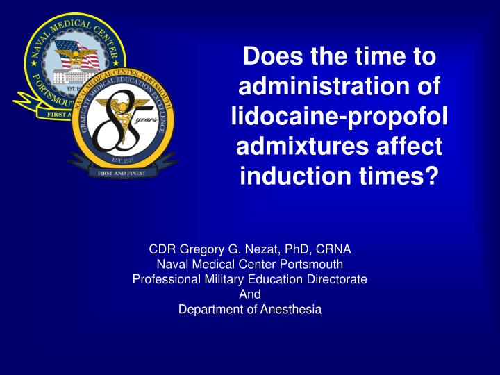 Does the time to administration of lidocaine propofol admixtures affect induction times