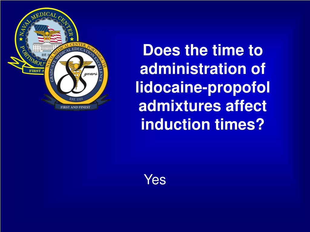 Does the time to administration of lidocaine-propofol admixtures affect induction times?
