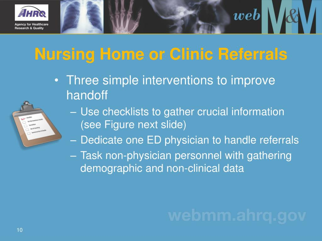 Nursing Home or Clinic Referrals