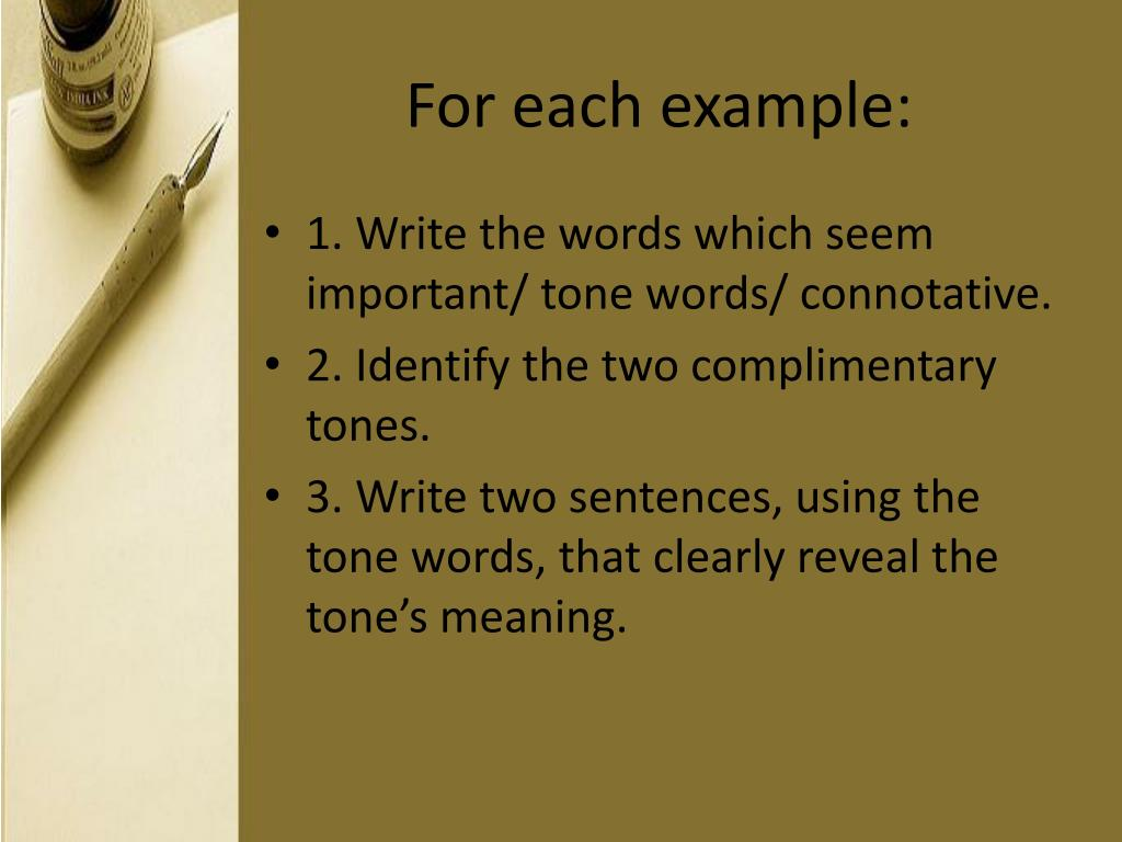 For each example: