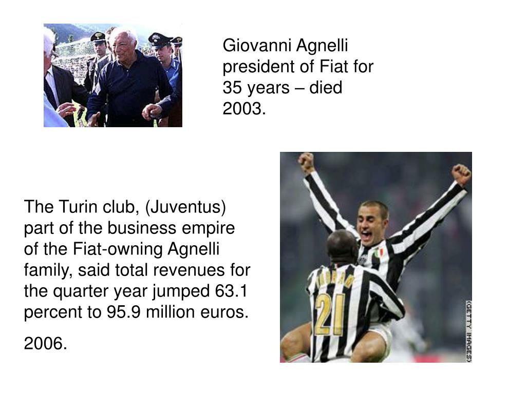 Giovanni Agnelli president of Fiat for 35 years – died 2003.
