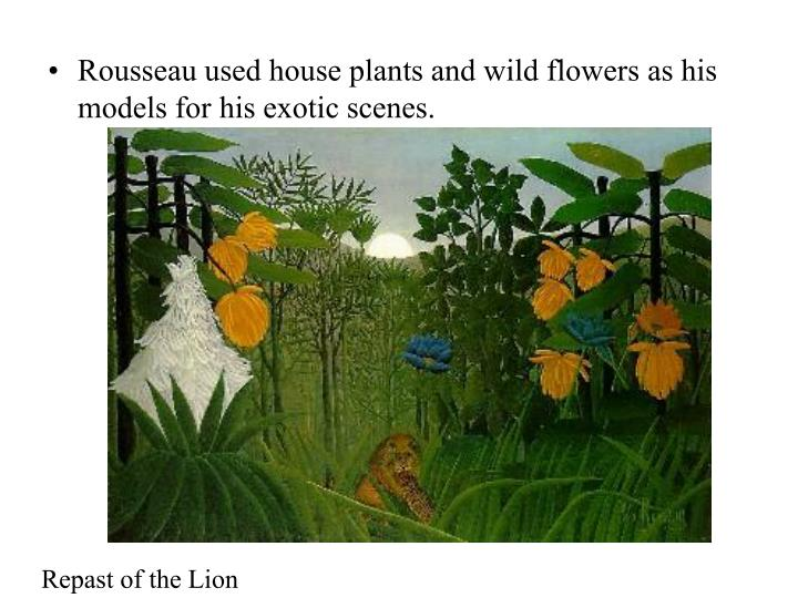 Rousseau used house plants and wild flowers as his models for his exotic scenes.