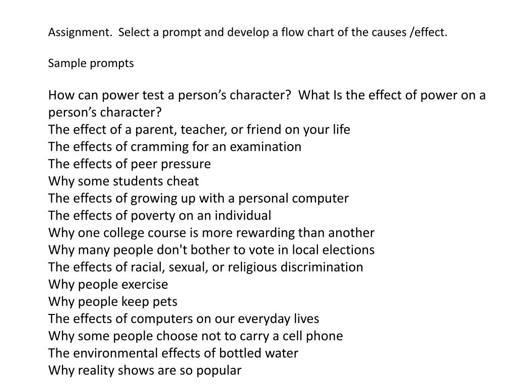 Assignment.  Select a prompt and develop a flow chart of the causes /effect.