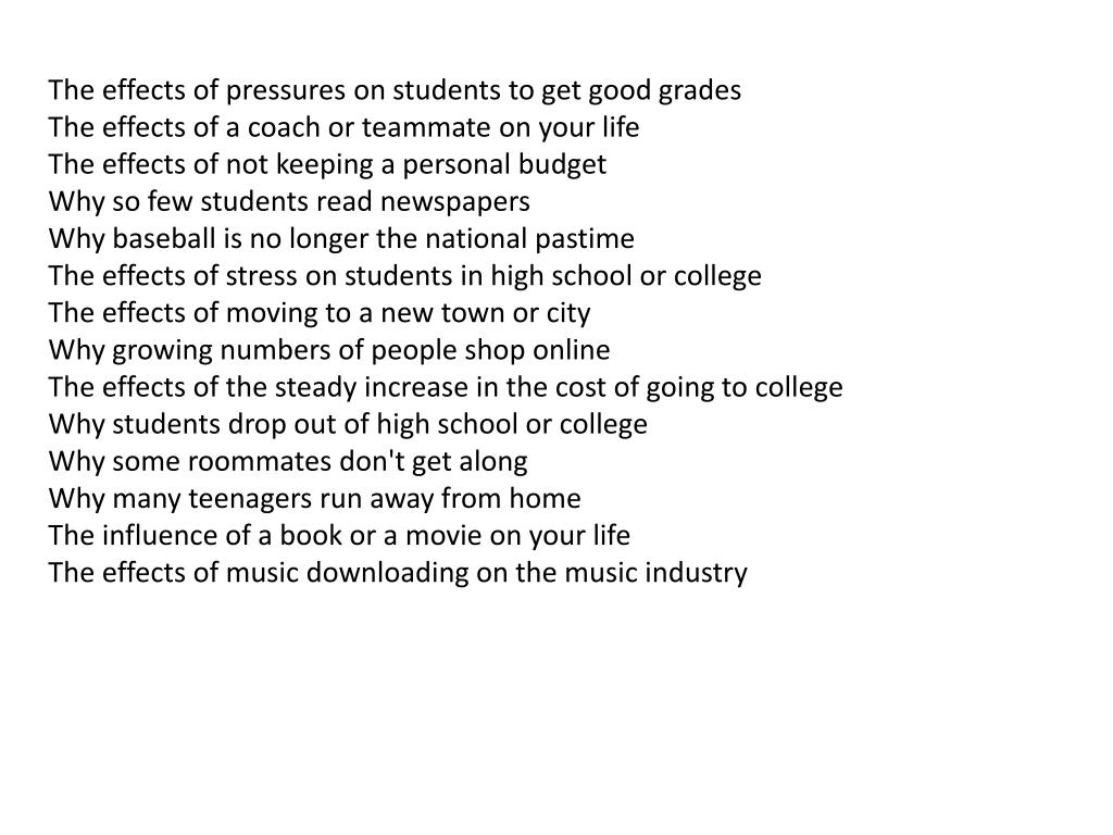 The effects of pressures on students to get good grades