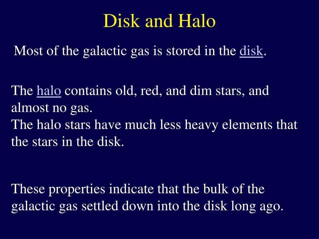 Disk and Halo