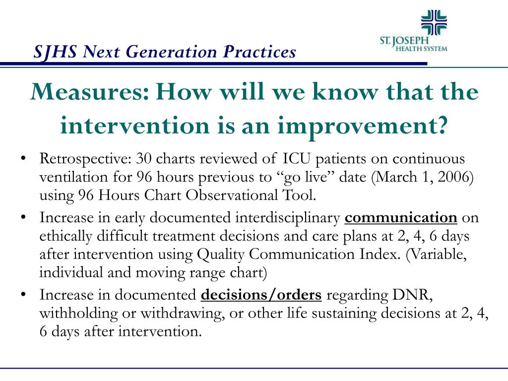 Measures: How will we know that the intervention is an improvement?