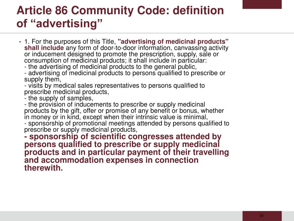 "Article 86 Community Code: definition of ""advertising"""