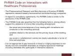 phrma code on interactions with healthcare professionals