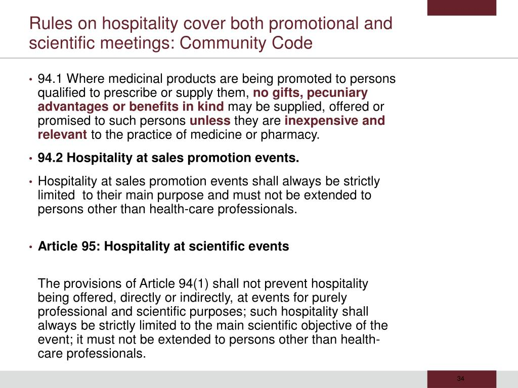Rules on hospitality cover both promotional and scientific meetings: Community Code