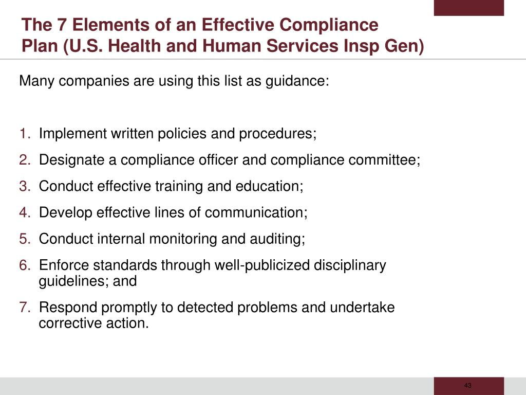 The 7 Elements of an Effective Compliance