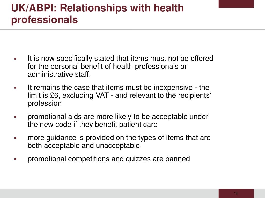 UK/ABPI: Relationships with health professionals
