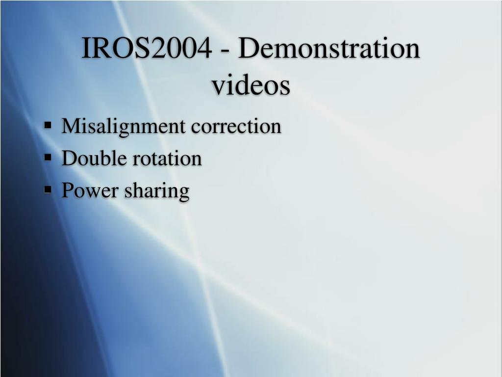 IROS2004 - Demonstration videos