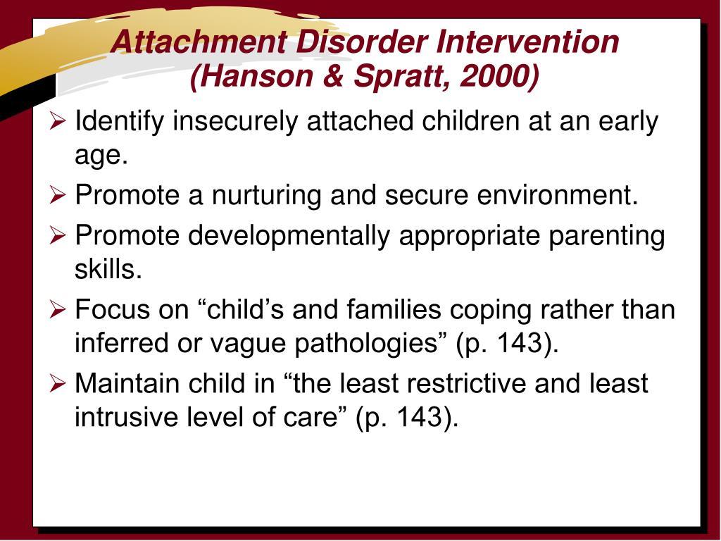 Attachment Disorder Intervention