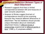 conceptual distinction between types of adult attachment