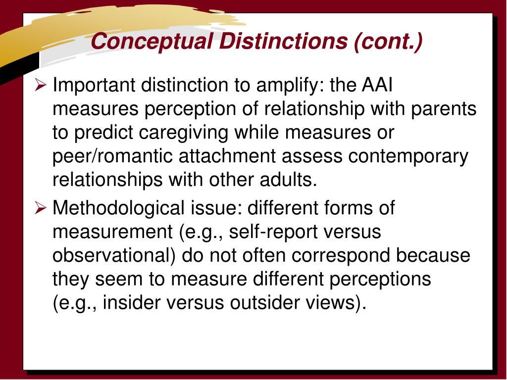 Conceptual Distinctions (cont.)