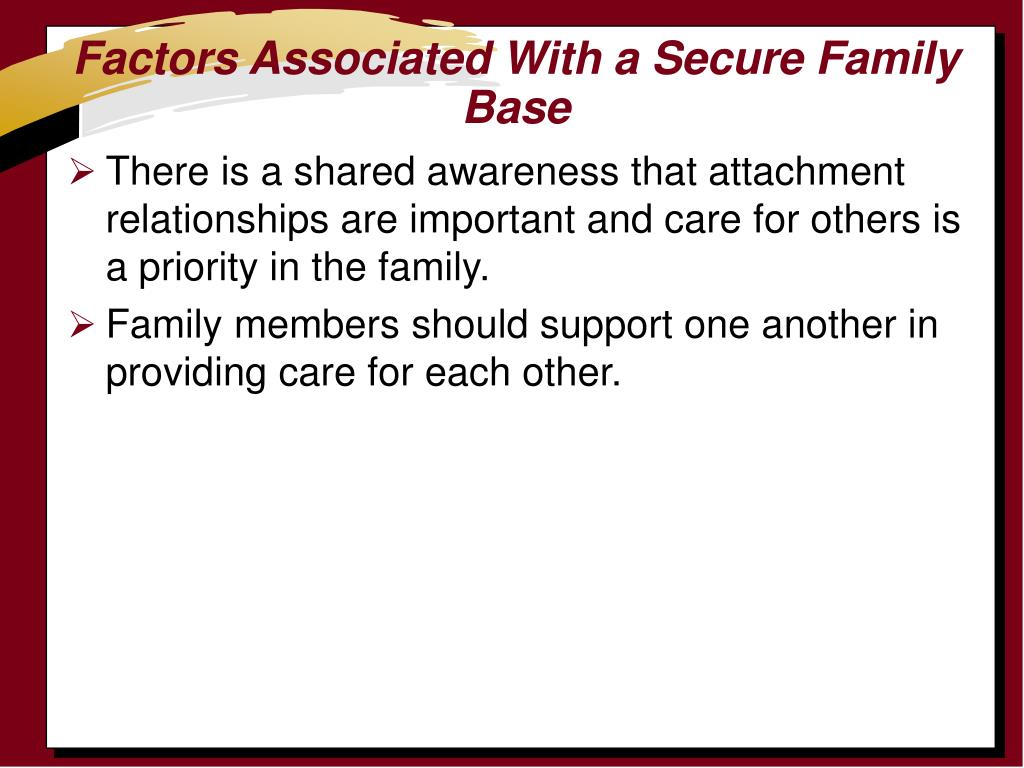 Factors Associated With a Secure Family Base