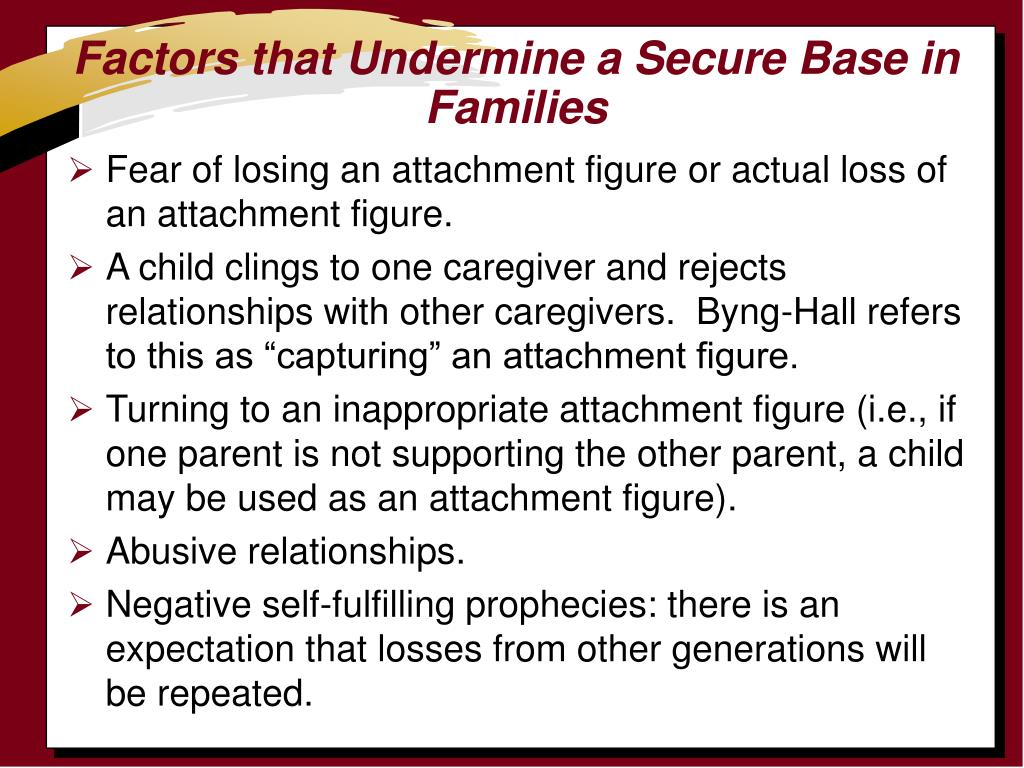 Factors that Undermine a Secure Base in Families