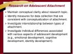 research on adolescent attachment