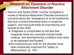 research on treatment of reactive attachment disorder