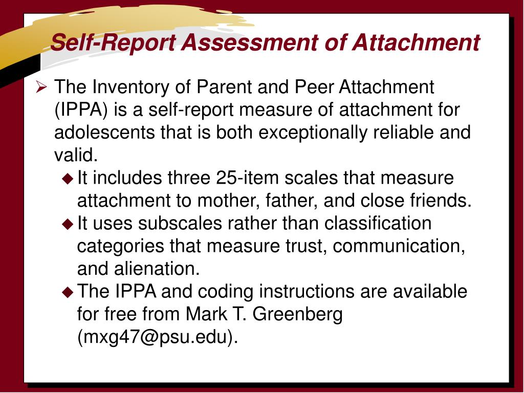 Self-Report Assessment of Attachment