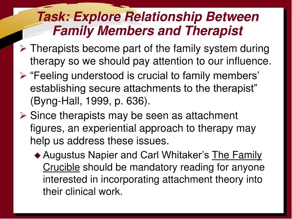 Task: Explore Relationship Between Family Members and Therapist