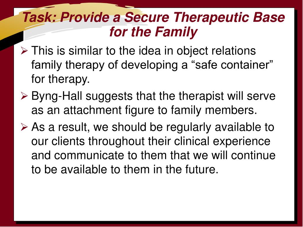 Task: Provide a Secure Therapeutic Base for the Family
