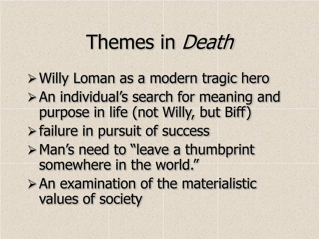 "an examination of the character of willy loman in arthur millers death of a salesman Commenting that biff is ""well liked""—a sure predictor of success in the loman   autobiography that the characters in death of a salesman speak in a stylized   eye willy begs ben to stay longer, but ben hurries to catch his train analysis."