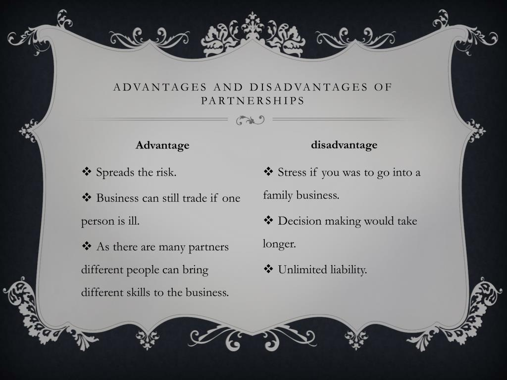 Advantages and disadvantages of partnerships