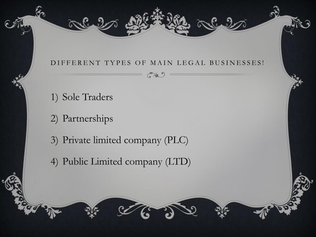 Different types of main legal businesses!