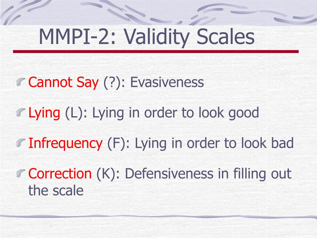 MMPI-2: Validity Scales