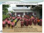 indian christian school students assembled to pray