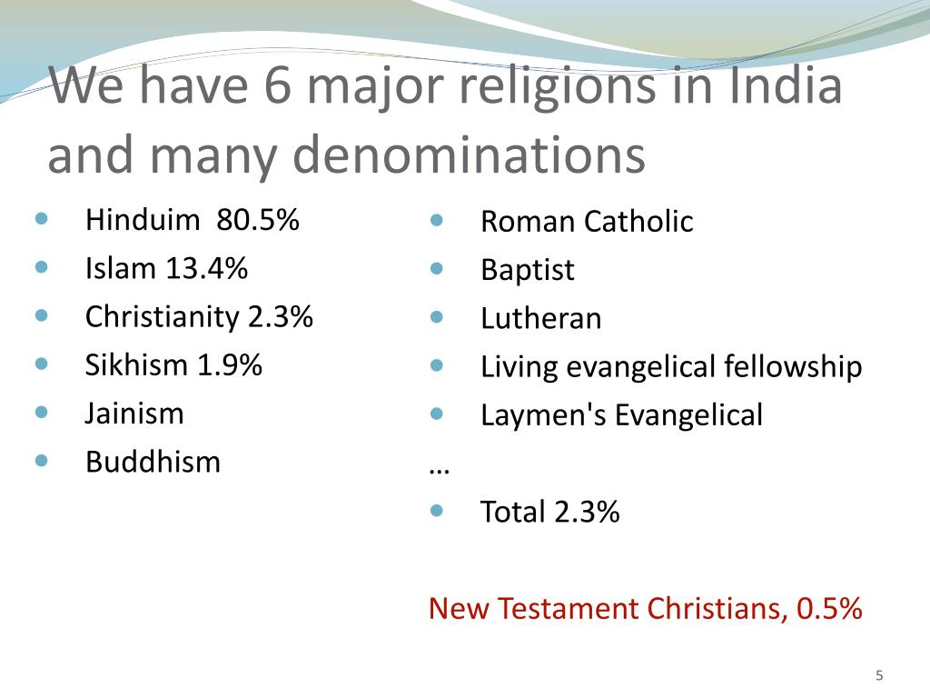 We have 6 major religions in India