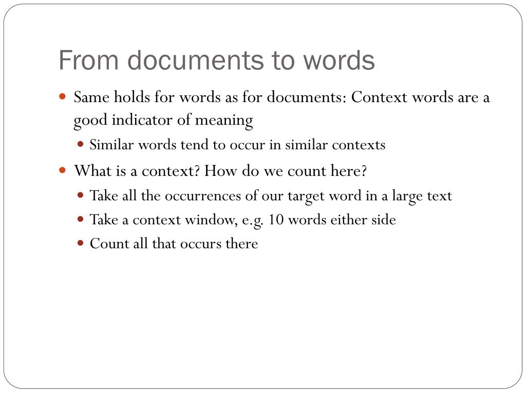 From documents to words