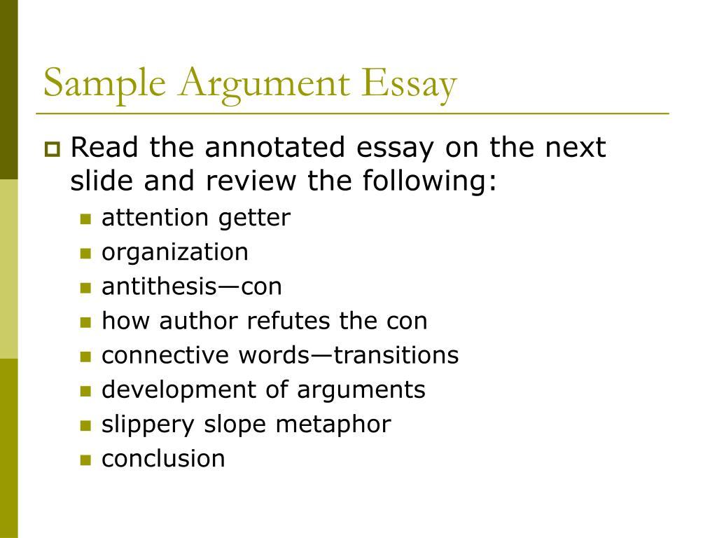Sample Argument Essay
