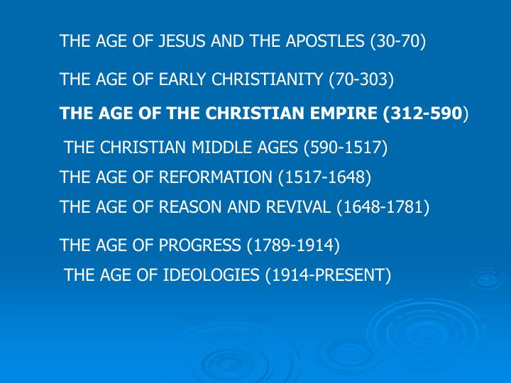 THE AGE OF JESUS AND THE APOSTLES (30-70)